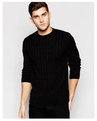 ASOS | Cable Knit Jumper In Black for Men | Lyst