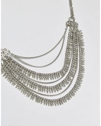 Pieces - Metallic Multi Row Necklace - Lyst