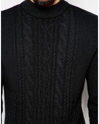 ASOS | Black Longline Cable Knit Sweater for Men | Lyst