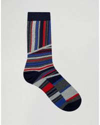 Urban Eccentric Blue Dot Stripes Socks In 5 Pack - Multi for men