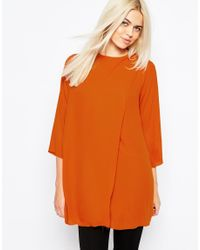Monki | Brown Wrap Front Blouse | Lyst