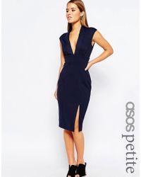 ASOS | Blue Blouson Top Midi Pencil Dress With Scuba Skirt | Lyst