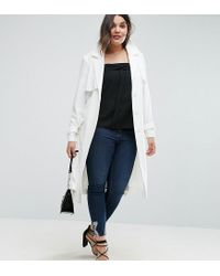 ASOS - White Mac In Structured Crepe With Oversized Pockets - Lyst