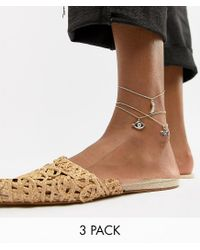 ASOS - Metallic Pack Of 3 Anklets With Multi Charms In Gold - Lyst