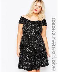 ASOS   Black Curve Twist Bardot Skater Dress In Ditsy Star Print   Lyst