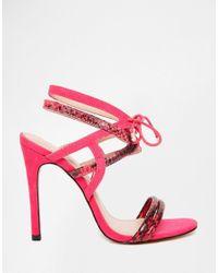 Carvela Kurt Geiger - Pink Luxor Strappy Tie Heeled Sandals - Lyst