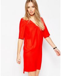 ASOS | Red Shift Dress With V Neck And Pocket Detail | Lyst