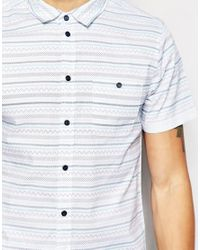 Another Influence - Blue Short Sleeve Aztec Print Shirt for Men - Lyst