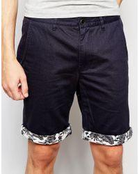 D-Struct - Blue Hawaiian Turn Up Shorts for Men - Lyst