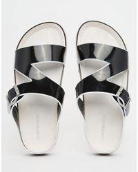 London Rebel - Black Footbed Slide Flat Sandals - Lyst
