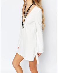 Glamorous | Natural Tunic Dress With Cut Out Collar And Flare Sleeve | Lyst