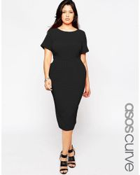ASOS | Black Midi Wiggle Dress In Texture | Lyst