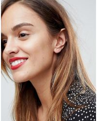 ASOS - Metallic Rose Gold Plated Sterling Silver Pack Of 2 Rose & Heart Stud Earrings - Lyst