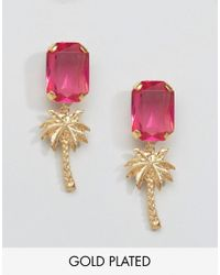 Gogo Philip - Pink Gold Plated Palm Tree Gem Earrings - Lyst