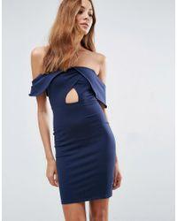 ASOS | Blue Bandeau Fold Bardot Mini Dress With Cut Out Waist | Lyst
