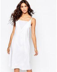 Aka   White Low Back Cami Midi Dress   Lyst