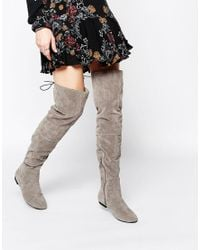 Daisy Street | Gray Grey Over The Knee Tie Back Flat Boots | Lyst