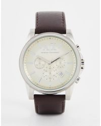 Armani Exchange | Metallic Rmani Exchange Outerbanks Chronograph Watch With Leather Strap Ax2506 for Men | Lyst