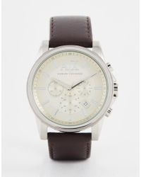Armani Exchange | Outerbanks Chronograph Watch With Leather Strap Ax2506 - Brown for Men | Lyst