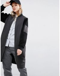 47184fa84311 Lyst - Native Youth Longline Bomber Jacket With Contrast Sleeves in ...