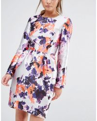 True Violet - Multicolor Satin Dress With Tulip Skirt - Lyst