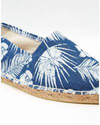 ASOS - Blue Denim Espadrilles With Hawaiian Floral Print - Lyst