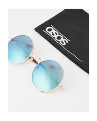 ASOS | Metallic Metal Round Sunglasses In Brushed Gold With Blue Lens for Men | Lyst