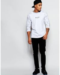 Nicce London - White 3/4 Printed Sleeve Raglan T-shirt for Men - Lyst