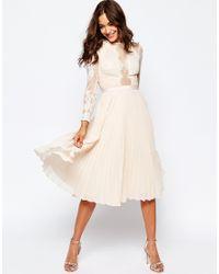 ASOS - Pink Wedding Pretty Lace Eyelash Pleated Midi Dress - Lyst