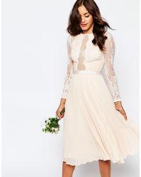 ASOS - White Wedding Pretty Lace Eyelash Pleated Midi Dress - Lyst