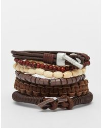 ASOS - Leather Bracelet Pack In Brown for Men - Lyst