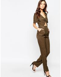 Millie Mackintosh - Khaki Cut Out Jumpsuit - Green - Lyst