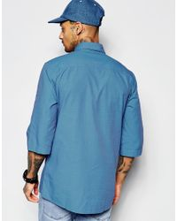Vivienne Westwood Anglomania - Blue Short Sleeve Shirt With Contrast Sleeves And Extended Placket for Men - Lyst