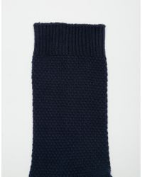 ASOS - Blue Waffle Socks 5 Pack In Navy Save for Men - Lyst