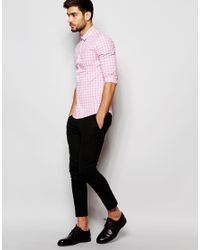 ASOS - Skinny Shirt In Pink Gingham Check for Men - Lyst