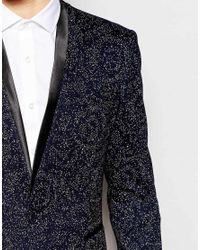 ASOS - Blue Skinny Patterend Blazer With Satin Shawl for Men - Lyst