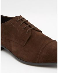 ASOS - Derby Shoes In Brown Suede With Toe Cap for Men - Lyst