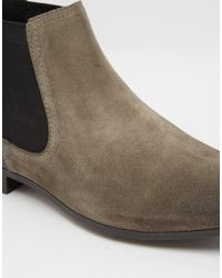 ASOS - Gray Chelsea Boots In Grey Suede With Back Pull - Lyst