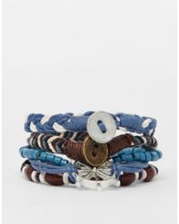 ASOS - Leather Bracelet Pack With Nautical Charms In Blue for Men - Lyst