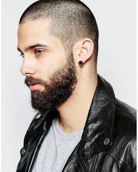 ASOS | Black Stud Earrings With Precious Stone | Lyst