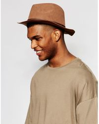 ASOS | Brown Fedora Hat In Camel Faux Suede for Men | Lyst