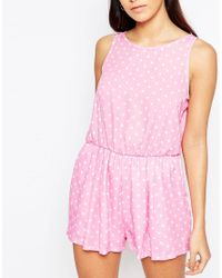Love - Polka Dot Playsuit With Split Back - Pink - Lyst