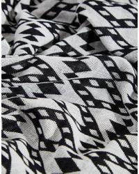 Becksöndergaard - White Huda Tassel Print Scarf - Lyst
