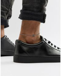 ASOS - Metallic Design Chain Anklet With Charm for Men - Lyst