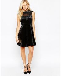 Oasis | Black Velvet Lace Trim Skater Dress | Lyst