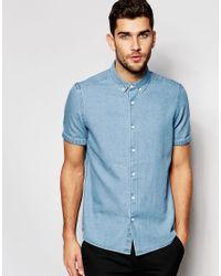ASOS - Green Denim Shirt In Mid Wash In Regular Fit for Men - Lyst