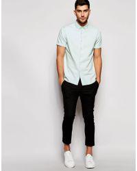 ASOS - White Denim Shirt In Bleach Wash With Short Sleeves In Regular Fit for Men - Lyst