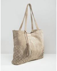 ASOS - Multicolor Suede Shopper Bag With Weave Corners - Lyst