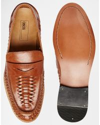 ASOS - Brown Penny Loafers In Woven Tan Leather for Men - Lyst