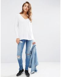 ASOS - White The New Forever T-shirt With Long Sleeves And Dip Back - Lyst